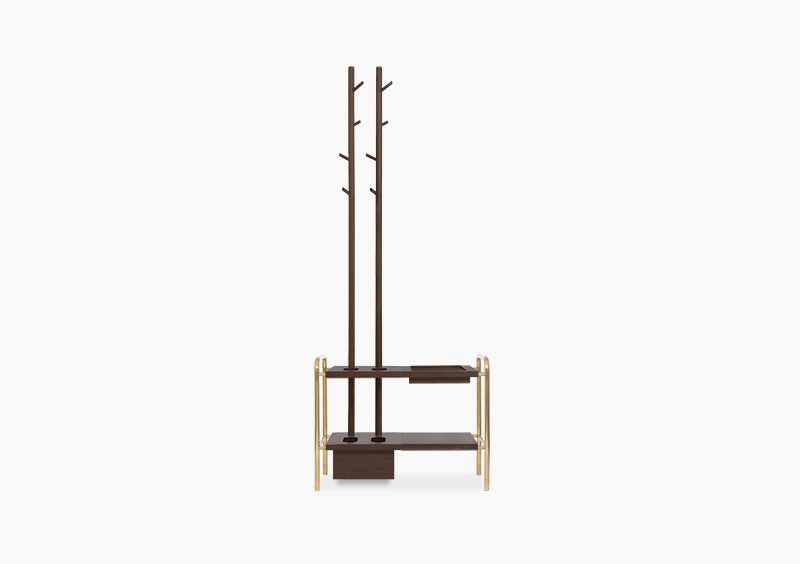 Coat Stand – Wood – Gold – AMBER by MARQQA Furniture