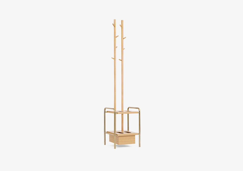 Coat Stand – Wood – Gold – BILLY by MARQQA Furniture