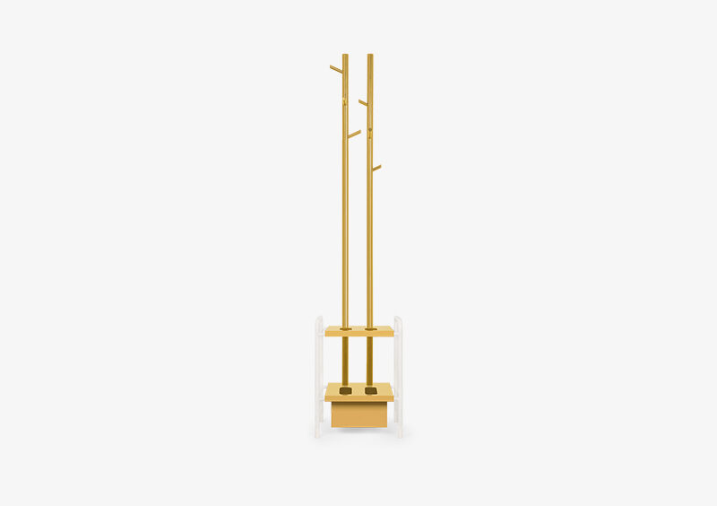 Coat Stand – Lacquered – Yellow – White – PAIGE by MARQQA Furniture