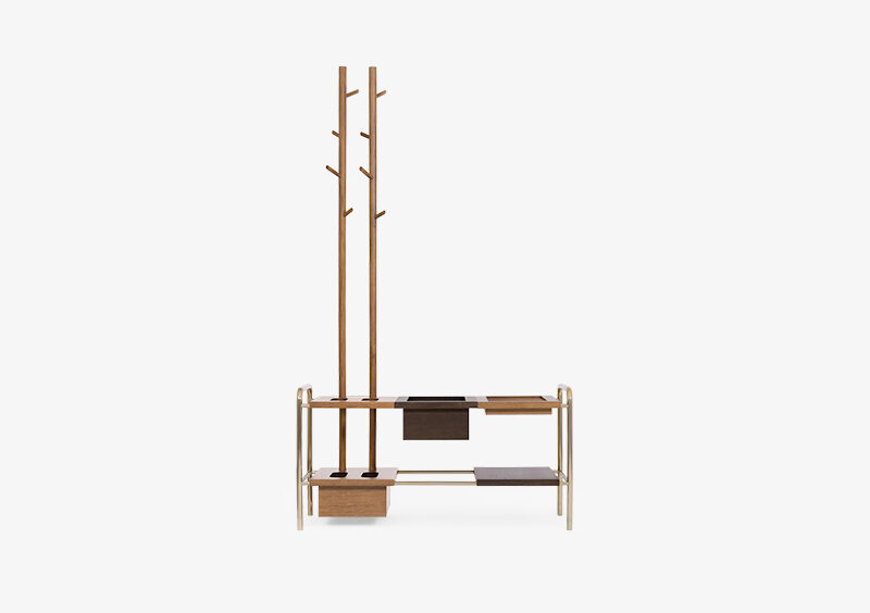 Coat Stand – Wood – Gold – ZACHARY by MARQQA Furniture