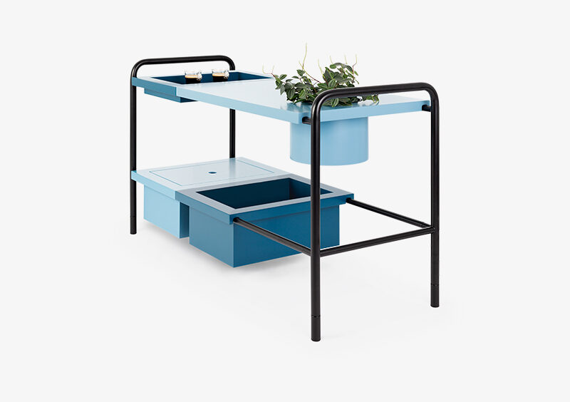 Side Table – Black – Lacquered – Blue – ALEXANDER by MARQQA Furniture