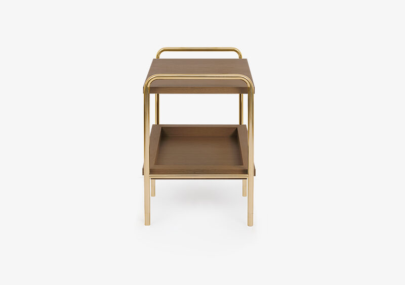 Side Table – Wood – Gold – LESLIE by MARQQA Furniture