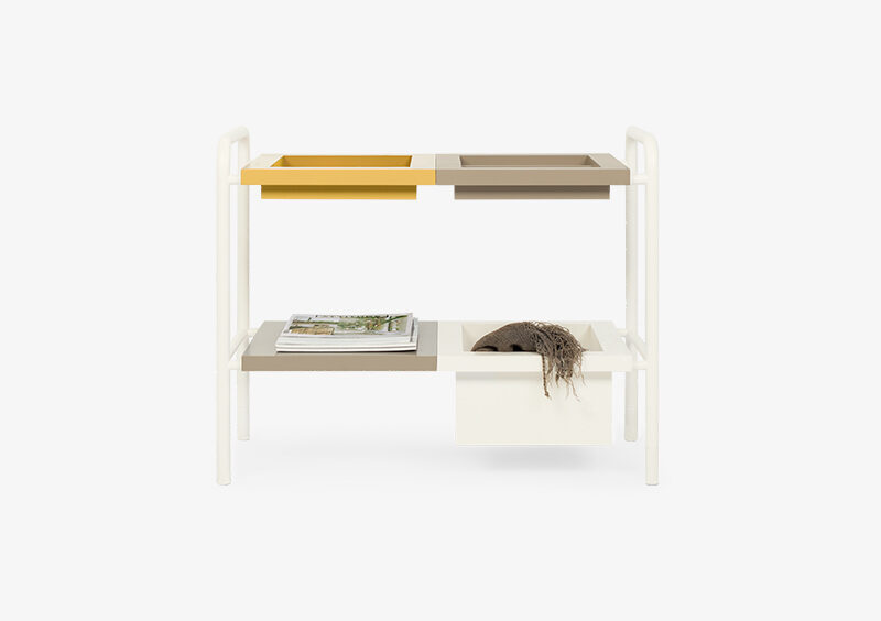 Side Table – Lacquered – White – Yellow – MARIA by MARQQA Furniture