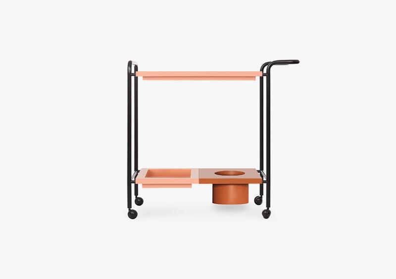 Tea Trolley – Lacquered – Rose – Black – ALYSSA by MARQQA Furniture
