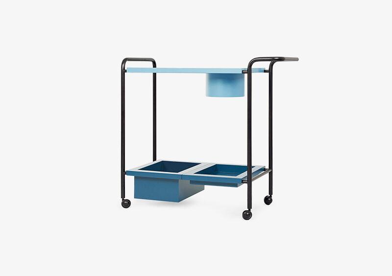 Tea Trolley – Lacquered – Blue – Black – JOSHUA by MARQQA Furniture