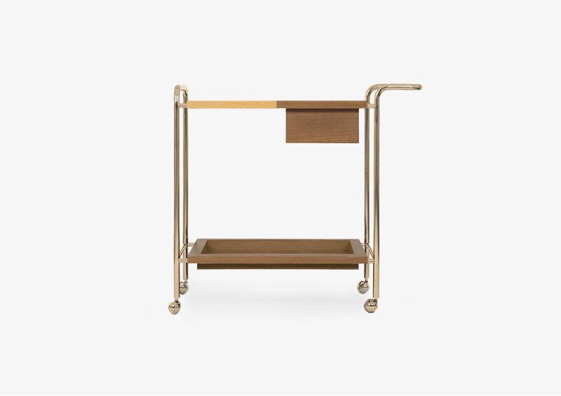 Tea Trolley – Wood – Gold – PATRICK by MARQQA Furniture