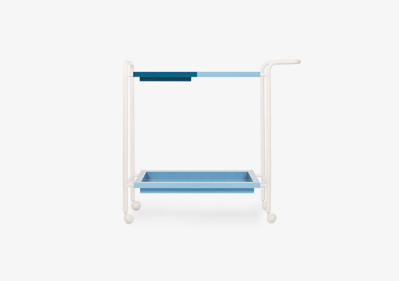 Tea Trolley – Lacquered – Blue – White – PHILIP by MARQQA Furniture