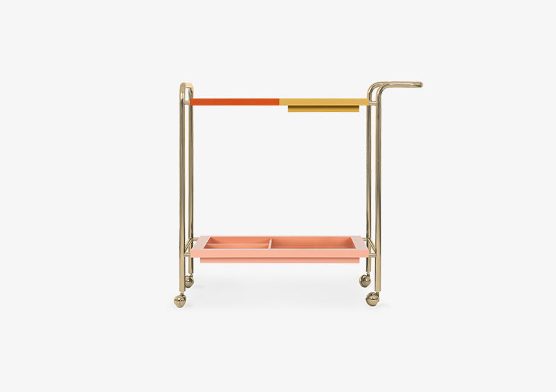 Tea Trolley – Lacquered – Gold – ROSE by MARQQA Furniture