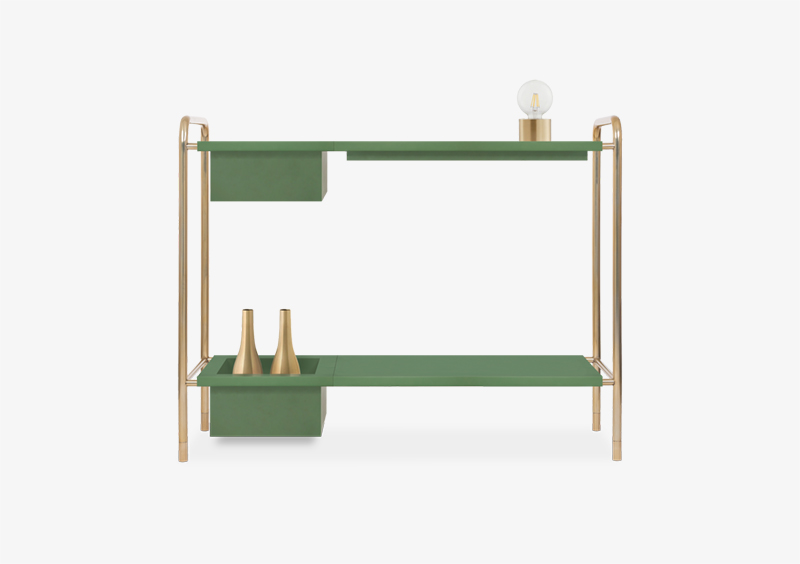 Console Table – Gold – Lacquered – Green – ABRAHAM by MARQQA Furniture