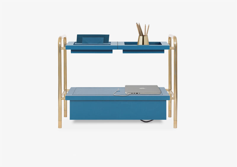 Side Table – Gold – Blue – HORATIO by MARQQA Furniture
