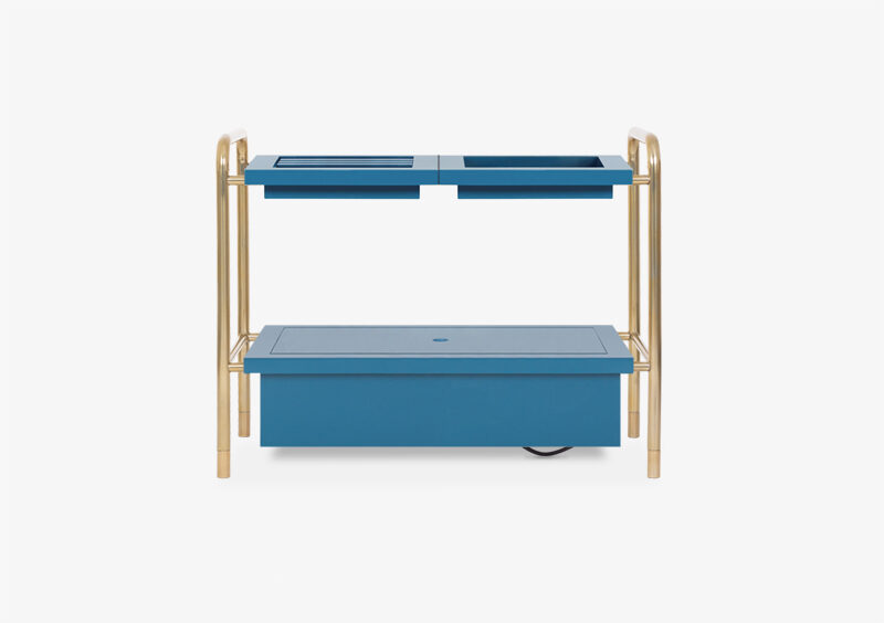 Side Table – Gold – Lacquered – Blue – HORATIO by MARQQA Furniture