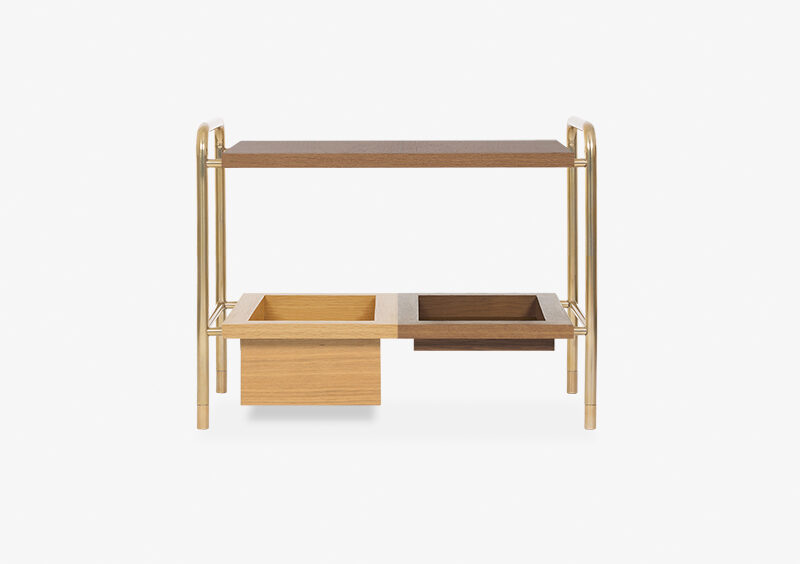 Side Table – Wood – Gold – WESLEY by MARQQA Furniture