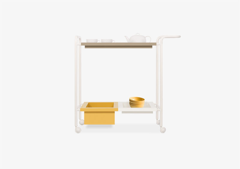 Tea Trolley – Lacquered – Mustard – White – Taupe – JACQUELINE by MARQQA Furniture