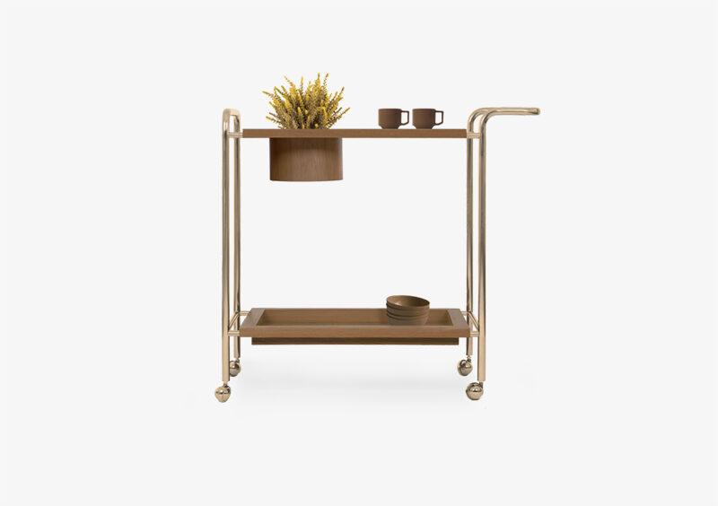 Tea Trolley – Wood – Gold – MATILDA by MARQQA Furniture
