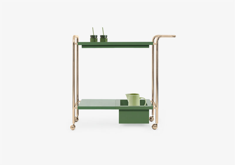 Tea Trolley – Gold – Green – THERESE by MARQQA Furniture