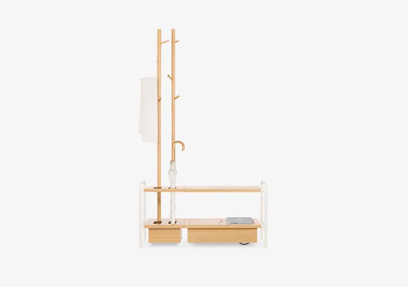 Coat Stand – Wood – White – ADAM by MARQQA Furniture